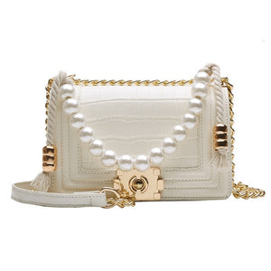 High Quality Small Women Pu Leather Shoulder Bag Fashion Designer Pearl Female Messenger Bags Luxury Women Purses and Handbags