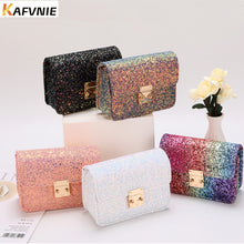 Load image into Gallery viewer, KAFVNIE Rainbow Children HandBag Shiny Bag For Girl High End PU Mobile Phone Handbag  Kid Evening Party Purse Bags 2019