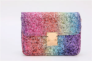 KAFVNIE Rainbow Children HandBag Shiny Bag For Girl High End PU Mobile Phone Handbag  Kid Evening Party Purse Bags 2019