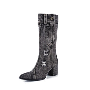 Sexy Jean Boots Women's Mid Calf Boot Zipper High Heel Woman Stylish Jeans Boots Ladies Denim Boot Female Shoes Cowboy 2020 New