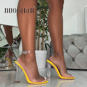 Fashion Women Sandals Shoes Celebrity Wearing Simple Style PVC Clear Transparent Strappy Buckle Sandals High Heels Shoes Woman