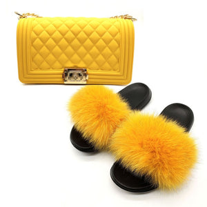 New Real Fox Fur Slides Women's Fashion Solid Jelly Color Purses Fox Hair Furry Sandals Shoulder Bags Set Casual Slippers