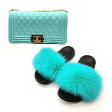 Load image into Gallery viewer, New Real Fox Fur Slides Women's Fashion Solid Jelly Color Purses Fox Hair Furry Sandals Shoulder Bags Set Casual Slippers