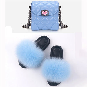 Children's Fur Slippers Furry Home Slippers Coin Purse Fluffy Fox Fur Slippers Indoor Summer Flat Sandals Girls Slippers
