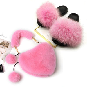 Women's Summer Fox Fur Slides and Furry Faux Fur Purses Ladies Solid Color Rabbit Hair Bags Set Fluffy Plush Home Slippers 2020