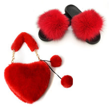 Load image into Gallery viewer, Women's Summer Fox Fur Slides and Furry Faux Fur Purses Ladies Solid Color Rabbit Hair Bags Set Fluffy Plush Home Slippers 2020