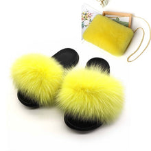 Load image into Gallery viewer, Women's New Plush Fox Fur Slides Square Chain Fake Fur Bags Ladies Furry Briefcase File Purse Female Fox Hair Home Slippers