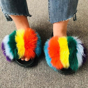 Summer Fluffy Raccoon Fur Slippers Shoes Women Real Fox Fur Flip Flop Flat Furry Fur Slides Outdoor Sandals Woman Amazing Shoes