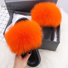 Load image into Gallery viewer, Lady Colorful Fox Fur Slides Vogue Fluffy Slippers Plush Real Fox Hair Slides Party Furry Flip Flops Women's Sandals