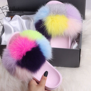Lady Colorful Fox Fur Slides Vogue Fluffy Slippers Plush Real Fox Hair Slides Party Furry Flip Flops Women's Sandals