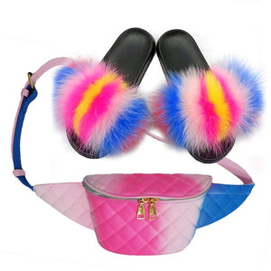 Summer Women Fur Slippers Fluffy Real Fox Hair Slides Set Furry Sandals Ladies Rainbow Jelly Bag Purse And Herringbone Slides