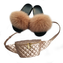 Load image into Gallery viewer, Summer Women Fur Slippers Fluffy Real Fox Hair Slides Set Furry Sandals Ladies Rainbow Jelly Bag Purse And Herringbone Slides