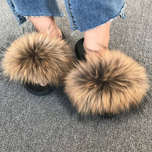 Load image into Gallery viewer, New fluffy Women Fur Slippers Faux Raccoon Fur Flip Flops Indoor Slipers Women's Fur Slides Furry Summer Flats Sweet Ladies Shoe