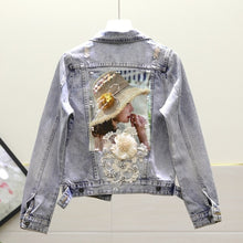 Load image into Gallery viewer, European Style Denim Jacket Women Fashion Heavy Embroidery Beaded Sequined Embroidered Flower Washing Water Jeans Denim Jackets