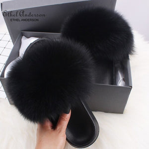 Ethel Anderson Women's Furry Slippers Ladies Vogue Real Fox Fur Hair Fluffy Slides Women's Genuine Fur Sliders