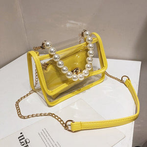 Transparent Jelly Pearl Tote bag 2020 Fashion New High-quality PVC Women's Designer Handbag Chain Shoulder Messenger Bag Purses