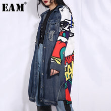 Load image into Gallery viewer, [EAM] 2020 New Spring Autumn Lapel Long Sleeve Blue Pattern Printed Loose Denim Big Size Jacket Women Coat Fashion Tide W014