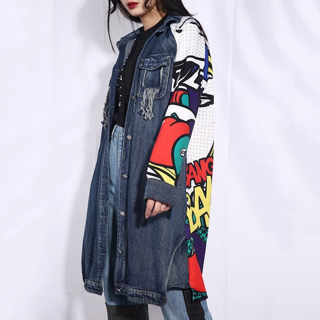 [EAM] 2020 New Spring Autumn Lapel Long Sleeve Blue Pattern Printed Loose Denim Big Size Jacket Women Coat Fashion Tide W014