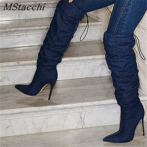 MStacchi 2020 Sexy ladies Fashion cowboy boot Sewing elastic cord High Heels shoes women Novelty Retro Pleated thigh high boots