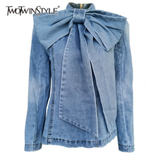 Load image into Gallery viewer, TWOTWINSTYLE Patchwork Bow Denim Women's Jacket Stand Collar Long Sleeve Vintage Ruched Jackets For Female 2020 Fashion Clothing