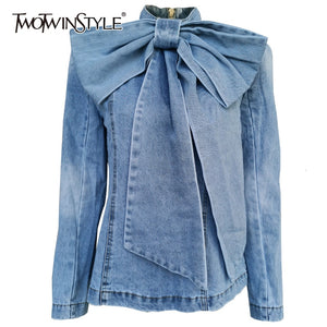 TWOTWINSTYLE Patchwork Bow Denim Women's Jacket Stand Collar Long Sleeve Vintage Ruched Jackets For Female 2020 Fashion Clothing