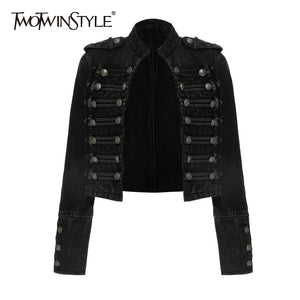 TWOTWINSTYLE Vintage Buttons Denim Coats For Women Stand Collar Long Sleeve Streetwear Style Jackets Female Clothes 2020 Fashion