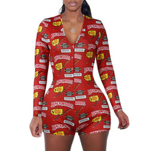 Load image into Gallery viewer, 2020 Sexy Women Deep V-neck Bodycon Sleepwear Jumpsuit Button Bodysuit Shorts Romper Floral Leotard Long Sleeve Print Tracksuit
