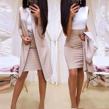 Load image into Gallery viewer, 2Pcs Office Lady Autumn Solid Color Long Blazer Jacket Bodycon Mini Skirt Suit Perfect for office business formal perfect gifts