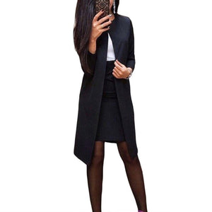 2Pcs Office Lady Autumn Solid Color Long Blazer Jacket Bodycon Mini Skirt Suit Perfect for office business formal perfect gifts