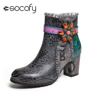 SOCOFY Womens Boots Printed Genuine Leather Lace Splicing Floral High Heel Black Boots Elegant Shoes Women Shoes Botas Mujer