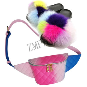 Women Fur Slippers Furry Sandals Colorful Jelly Bag Girls Party Shoes Fashion Fanny Pack Fox Fur Slides Fluffy Fur Slides Hot