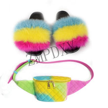 Load image into Gallery viewer, Women Fur Slippers Furry Sandals Colorful Jelly Bag Girls Party Shoes Fashion Fanny Pack Fox Fur Slides Fluffy Fur Slides Hot