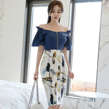Load image into Gallery viewer, Vintage Suits 2020 Summer Off Shoulder Flare Sleeve Blue Chiffon Blouse Print Pencil Bodycon Skirt Two Piece Party Dress