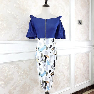 Vintage Suits 2020 Summer Off Shoulder Flare Sleeve Blue Chiffon Blouse Print Pencil Bodycon Skirt Two Piece Party Dress