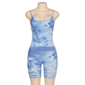 2020 Summer Women Sexy Tie Dye Printed Jumpsuit Streetwear Bodycon Spaghetti Sport Jumpsuits Romper Playsuit For Women