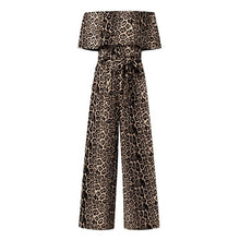 Load image into Gallery viewer, 5XL Sexy Off Shoulder Long Jumpsuits Celmia Women Leopard Print Short Sleeve Rompers Sashes Fashion Bodycon Plus Size Overalls 7