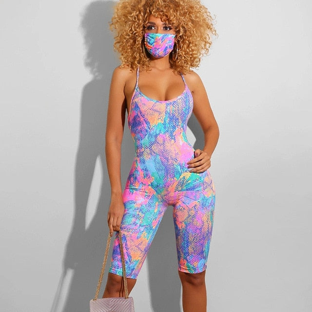 Tie Dyeing Print Backless Jumpsuit Rompers Trousers Clubwear 2020 New Sexy Women Sleeveless Strap Rompers Playsuit Summer Shorts