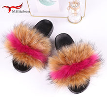 Load image into Gallery viewer, Summer Imitation Fur Slides Ladies Faux Fox Fur Furry Slippers Indoor Flat Bottom Non-slip Fake Raccoon Fur Slippers Women Shoes