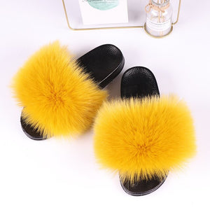 Summer Imitation Fur Slides Ladies Faux Fox Fur Furry Slippers Indoor Flat Bottom Non-slip Fake Raccoon Fur Slippers Women Shoes