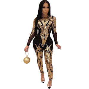 Zoctuo Jumpsuit Women Plus Size Gold Silver Sexy Sequin Bodycon See Through Party Club Rompers Tight Jumpsuits Long Pants