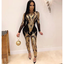 Load image into Gallery viewer, Zoctuo Jumpsuit Women Plus Size Gold Silver Sexy Sequin Bodycon See Through Party Club Rompers Tight Jumpsuits Long Pants