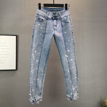 Load image into Gallery viewer, Thin Jeans Women 2020 Summer New European Style Elastic Slim Irregular Denim Pants Hot Drilling Pencil Pants Lady's Jean Jeans