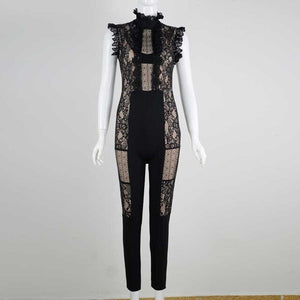 wholesale 2020 new Rompers Black lace perspective Fashion sexy celebrity Boutique celebrity Party bandage Jumpsuits