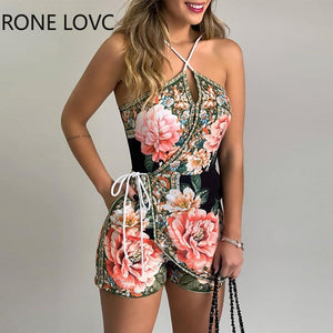 Women  Halter Floral Print Casual Romper  Summer Sexy Romper