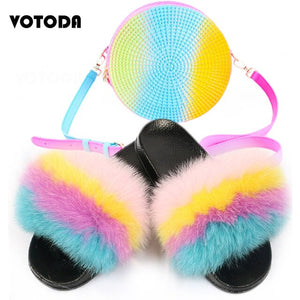 Summer Women Real Fluffy Fox Fur Slippers Lady Furry Slides Woman Jelly Round Bags Rainbow Handbag Female Fashion Shoes Bag Set