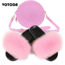 Load image into Gallery viewer, Summer Women Real Fluffy Fox Fur Slippers Lady Furry Slides Woman Jelly Round Bags Rainbow Handbag Female Fashion Shoes Bag Set