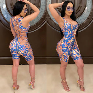 Backless Hollow Out Skinny Jumpsuit Romper 2020 Sexy Women Sleeveless Print Lace-Up Bandage Jumpsuit Overalls Shorts Feminino