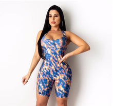 Load image into Gallery viewer, Backless Hollow Out Skinny Jumpsuit Romper 2020 Sexy Women Sleeveless Print Lace-Up Bandage Jumpsuit Overalls Shorts Feminino
