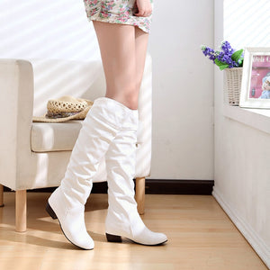 Women Boots Fashion Spring PU Leather Boots Botas Female Stretch Shoes Woman Black White Roma Knee-Length Shoes Femme