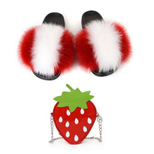 Load image into Gallery viewer, Lovely Girls Fox Fur Slippers Cute Fruits Strawberry Shoulder Bags Sets Women's Real Fox Hair Furry Slides Ladies Party Purse